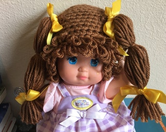 Cabbage Patch Kid Style Crocheted Chocolate Brown Wig Hat Halloween Costume for Baby Girls Size Newborn to 12 Months
