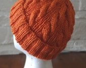 Orange Cable Hand-Knit Hat. Super soft, for men or women- Ready to be Shipped