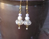 five dollar earrings, five dollar gifts, Montana, white earrings, white beads, pearl earrings, freshwater pearl, hypo allergenic