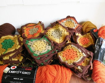 91 Crocheted Granny Squares and Yarn to Make Your Own Afghan