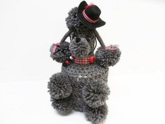 Kitsch Fifties Style Grey Cowgirl Toilet Tissue Poodle Cozy, Toilet Paper Roll Poodle Cozy