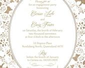 Burlap and Lace Wedding Invitations, Rustic Summer Wedding, Custom Wedding Invitation Listing for Carissa Lucke