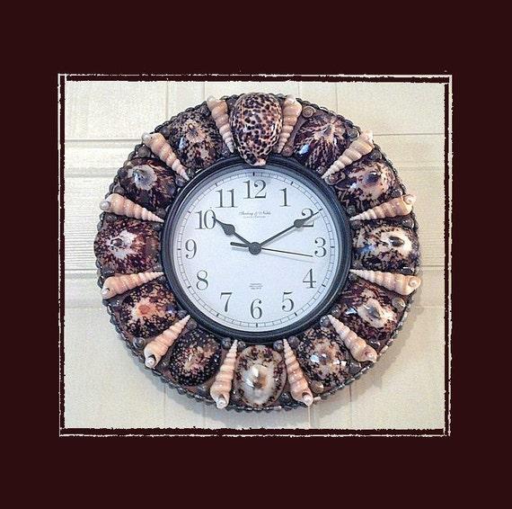 Seashell wall clock polished limpet beach theme coastal for Seashell wall clock