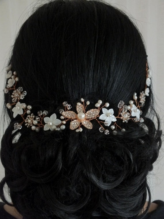 Floral Fantasy - Mother Pearl  Flower, Freshwater Pearl,Rhinestone Flower and Crystal Rose Gold Bridal Hair Vine