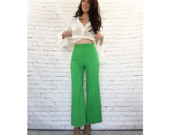 Vintage 60s Mod High Waist Flared Ankle Highwater Pants XS S Kelly Green