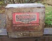 RESERVED FOR jewls0024s--Vintage Sorensen Ignition Parts Metal Cabinet w/Lift Door-2 Shelves-Drawer