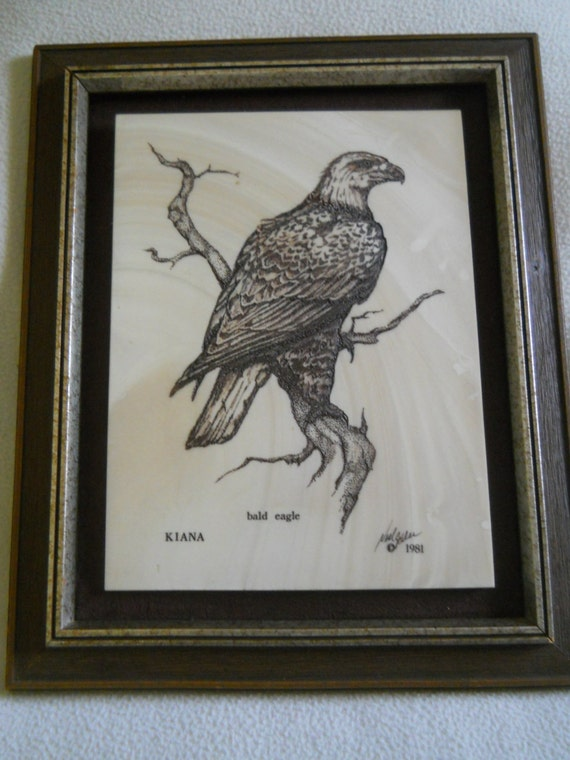 Vintage The Alaska Mint Kiana Framed Etched Marble Bald Eagle