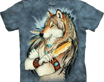 Anthro Wolf Warrior with Golden Feather T-Shirt
