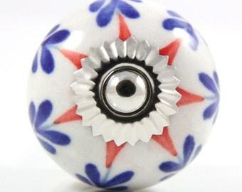 Red and blue starburst knob 3.8cm MUL011