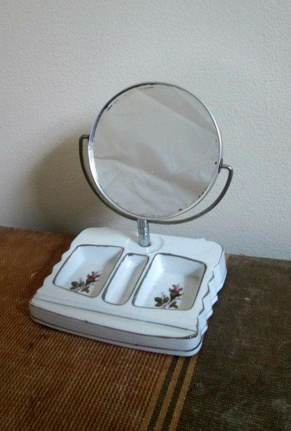 Porcelain vanity tray mirror combo vintage 1960s boudoir - Bathroom vanity and mirror combo ...