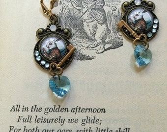 ALICE in WONDERLAND Earrings -  White Rabbit FANTASY Jewelry