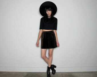 VELVET Print MINI Skirt 90s Floral Flowers Dark Goth Boho Vintage Size 27 Waist