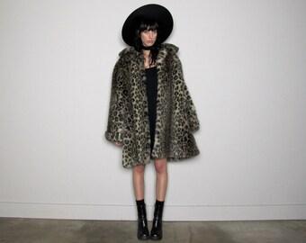 LEOPARD Print FAUX Fur Coat 90s Extra Large Animal Print Vintage Size XL/2XL