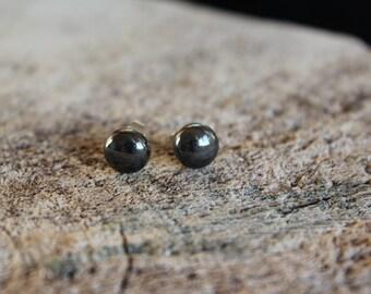 boucle minimaslite / pierre naturelle / hematite (BO-1157)