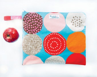 EX-LARGE Zippered Wet Bag / Nappy Wallet / Diaper Case with an Optional Tab - Donuts (Aqua Blue)