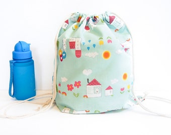 SALE 30% Off - Drawstring Backpack Bag - House and Bunny Rabbits (Green)