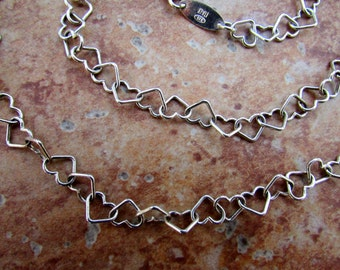 Sterling Silver Heart Chain Necklace 24 Inch Sterling Silver Heart Necklace