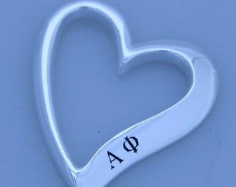 Alpha Phi Sterling Silver Heart Shaped Pendent