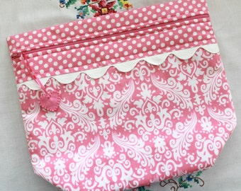 Big Bottom Bag Pink Damask and Polka Dots  Cross Stitch, Embroidery Project Bag