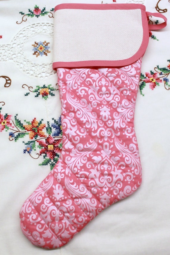 Sparkling Pink Damask  Stitchable Quilted Cross stitch Christmas Stocking