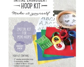 Bright mini embroidery kit / initial kit for mini hoops