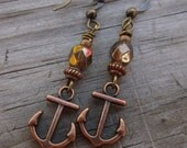 Copper Anchor charm and Bronze Glass earrings