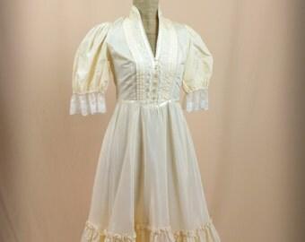 70s Gunne Sax Dress * Prairie Dress * Cream Maxi Dress * Cream Dress * Boho Dress * Small