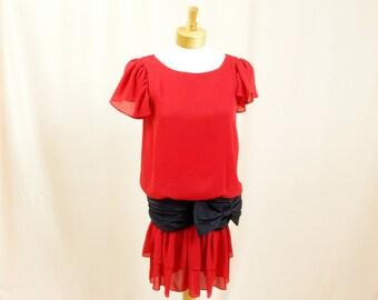 Red Drop Waist Dress * Vintage Drop Waist Dress * Red Dress * Scooter Dress * Red and Black Dress * Formal Dress * Cocktail Dress * Glenrob