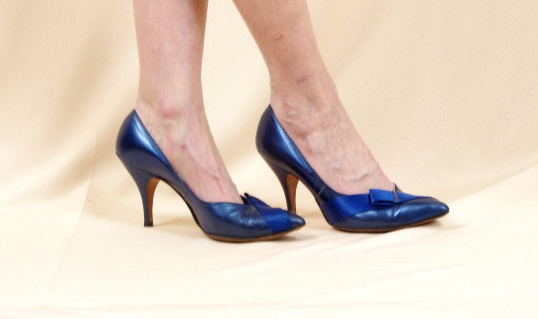 1950s Heels Navy Blue Heels Blue Pumps 50s Shoes Blue