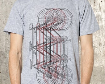 3 Woodblock Illustrated Tandem Bikes - Men's Screen Printed T-Shirt - Available in Small, Medium, Large, XL and 2XL