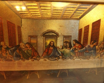 Lord's Supper sparkling picture framed and laminated home decor office decor Easter religion Christianity gift