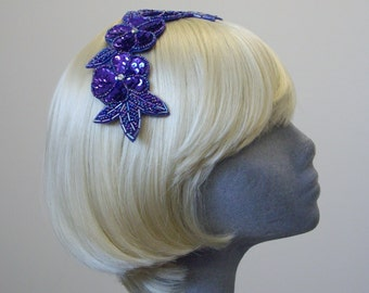 Purple Sequin Floral Headpiece
