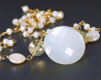 Moonstone Necklace by Agusha. Statement Moonstone and Citrine Necklace. White Gemstone Necklace