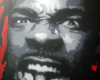 Busta Rhymes Stencil Painting in Grayscale with Red Background - Middle Finger Conglomerate Art by Beau Pope