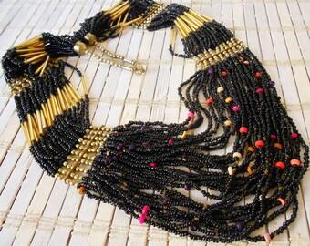 Vintage Multi Strand Statement Necklace, Black & Gold, Hippie Chick, 1970's, Gypsy necklace, Long beaded, Bohemian style, Boho, Big