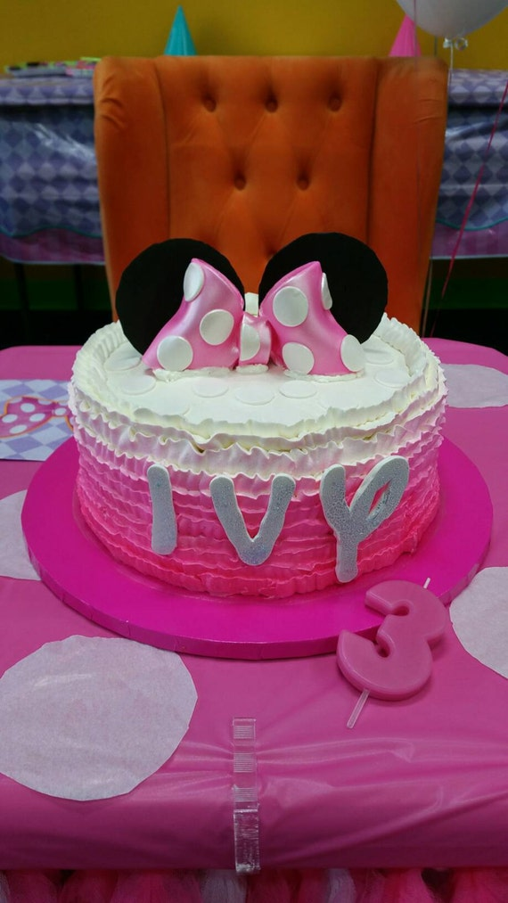 mickey ears wedding cake topper minnie mouse bow and ears cake topper and fondant name 17351