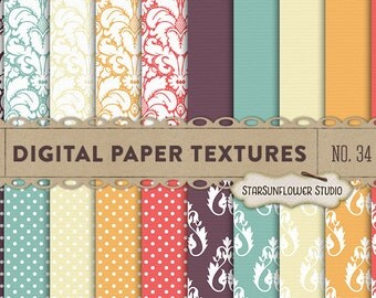Damask & Dots Digital Scrapbook Paper Pack  No 34 - 12x12