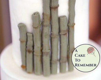 12 pieces of gumpaste bamboo for cake decorating, edible bamboo, sugar bamboo for Hawaiian cakes or beach themed cakes.