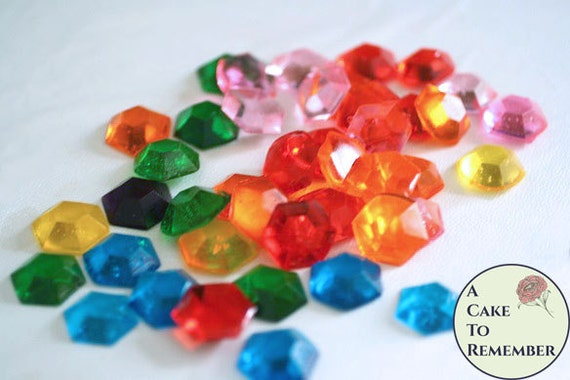 Edible Cake Decorations Jewels : Hexagon edible gems, rupee decorations edible diamonds ...