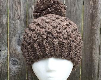 Pom-Pom Hat, Knit Winter Hat, Chunky Knit Hat, Bulky Beanie, Knit Beanie, Knit Hat