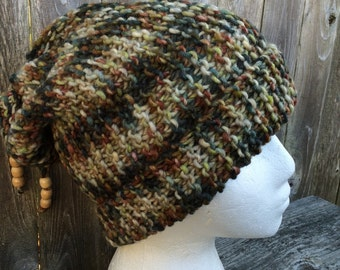 Hand Knit Slouch, Hand knitted Beanie, Slouch Hat with pull cord bow