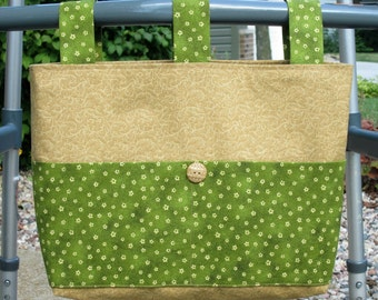 Adult Woman Walker Bag Tote Caddy Purse – Beige Print w/Olive Green & Beige Pockets and Straps, Beige Button