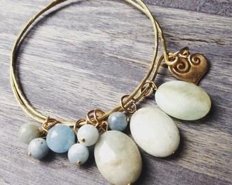 Gold bangle, bangle bracelet, wedding jewelry, gold bracelet, gemstone bracelet, beaded bracelet