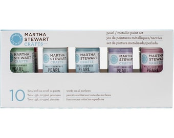 Pearl & Metallic Acrylic Paint Set - by Martha Stewart - 10 Colors - Acid Free - Archival Quality (131014)