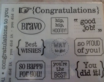 Congratulations Assorted Word & Phrase Sentiment Plastic Stickers - Great for Card Making - Clear with Black Letters - Three 9X7 inch Sheets