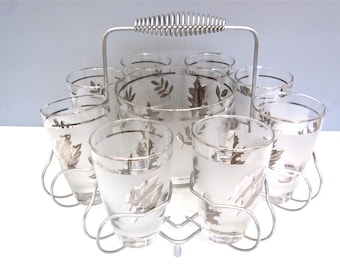 Vintage Libby glass set with ice bucket and caddy,  Mad Men barware, silver leaf glasses
