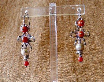 Mexican silver dangle bow pomegranet coral earring romantic boho style Oaxaca Frida Kahlo drop 2""