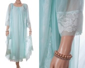 Stunning 60's vintage full length 'Gaymode' Peignoir Set in sheer double layer aqua flimsy nylon and delicate white lace-complete set - 3645