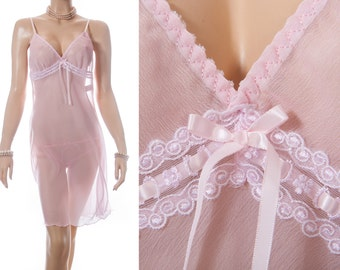 Sexy romantic flimsy extremely sheer sugar pink polyester and delicate lace and ribbon detail 90's vintage bra slip / nightdress - 3630