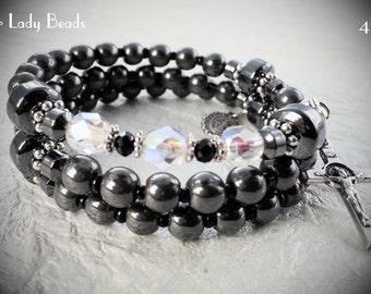 Hematite Rosary Bracelet Wrap,Rosary Wrap Bracelet,Religious Gift,Catholic Jewelry,Bridal,Confirmation,First Communion,#476